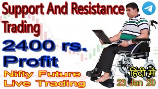 intraday nifty future support and resistance live trading in zerodha 23 jan 2019