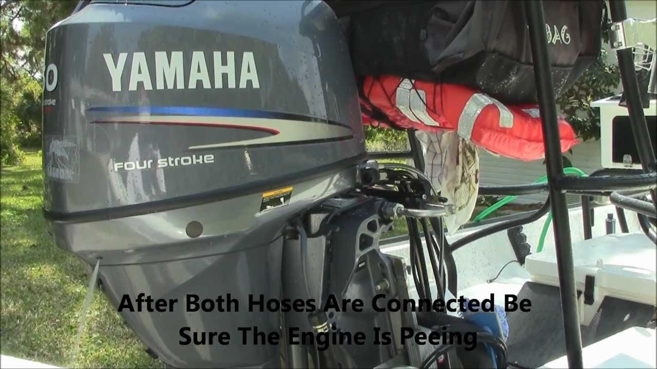 Flushing Yamaha Outboard Boat Engine  YouTube