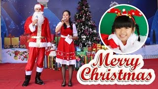 Bé Bún đón giáng sinh ở trường mầm non Hoa Sữa – Ông Già Noel hát rất hay bài If You're Happy