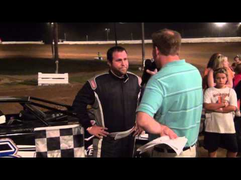 Shaine Sixeas in victory lane at Path Valley on 8-21-15