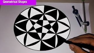 drawing shapes geometrical geometric easy drawings circles very step tutorial paintingvalley