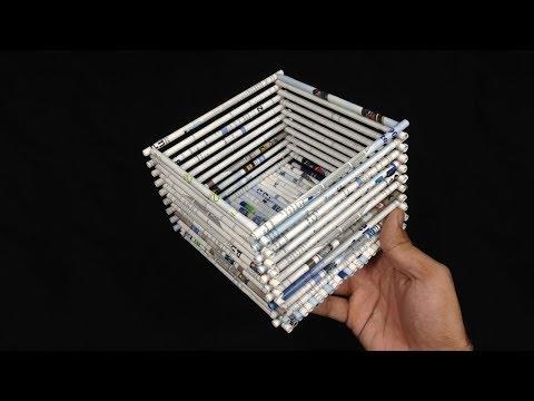 Cara membuat keranjang serba guna dari koran bekas | tutorial full