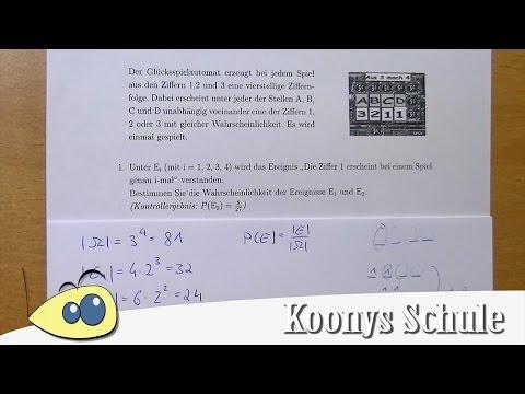 """""""Die Ziffer 1 erscheint genau i-mal"""" berechnen, Glücksspielautomat   Blatt 1987 (1/5)"""