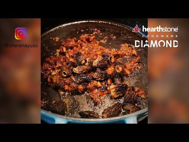 Receta de arroz con colmenillas y salchicha en cocotte baja Diamond by @cherenayuso