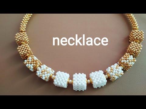 Necklace-tutorial. Колье из квадратных бусин