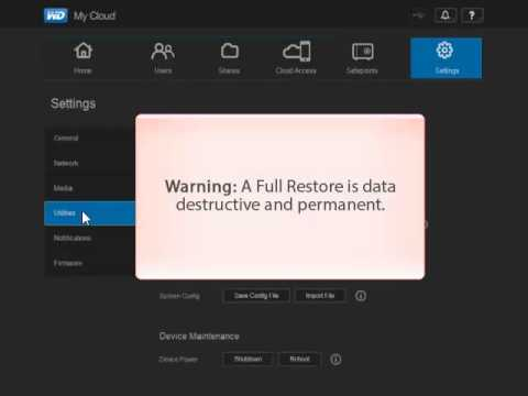 WD My Cloud, Restoring the System's Factory Settings - Full Restore