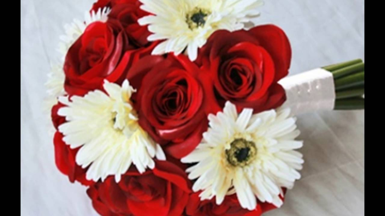 Red Rose and Gerber Daisy Wedding Bouquet - YouTube