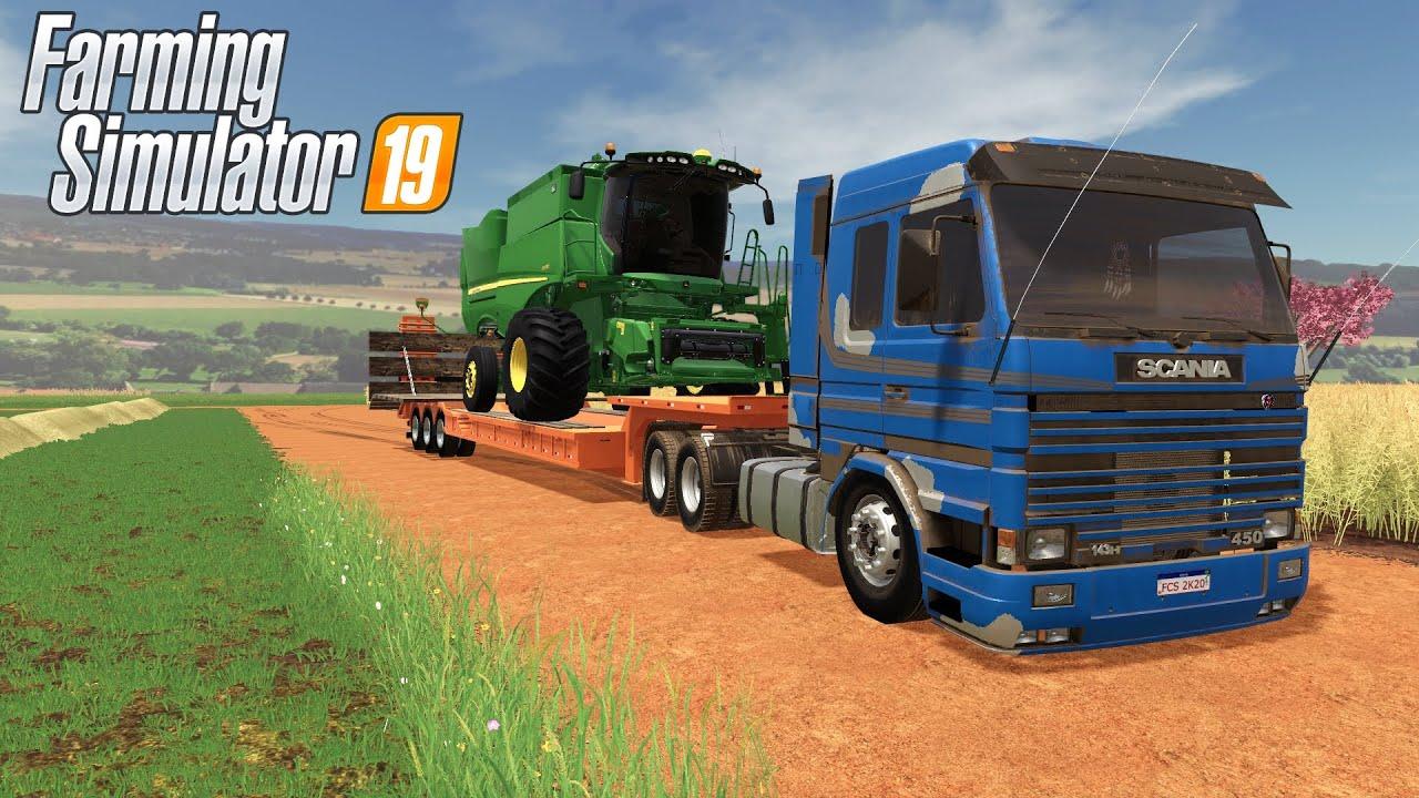 TRANSPORTANTO UMA COLHEDEIRA NA PRANCHA   Farming Simulator 2019