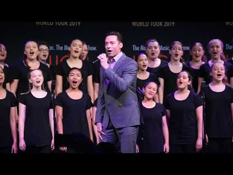 Hugh Jackman and Keala Settle and the Australian Girls Choir. Filmed for BroadwayWorld Sydney