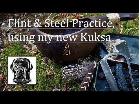 Flint & Steel Fire Practice   Using My New Kuksa   Traditional Fire Starting   Bushcraft   Survival