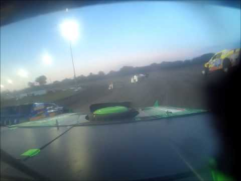 Adams County Speedway NASCAR B-Modified A Feature Tony Rost grandstand view + on board camera crash