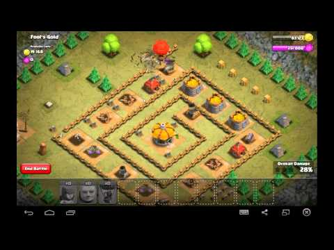 Fool's Gold - Town Hall Level 4 - 25 Archers, 8 Giants, 1 Balloon - Simple Clash of Clans