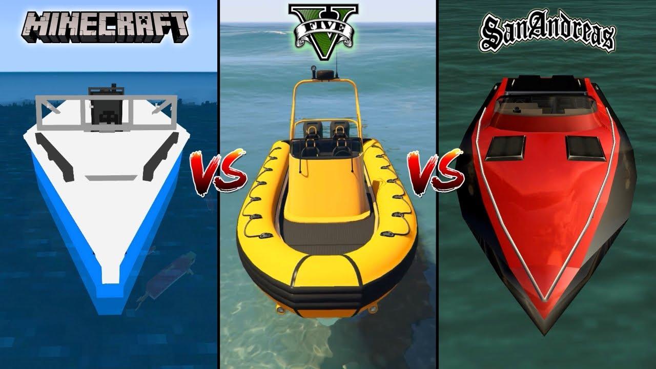 MINECRAFT BOAT VS GTA 5 BOAT VS GTA SAN ANDREAS BOAT - WHICH IS BEST?