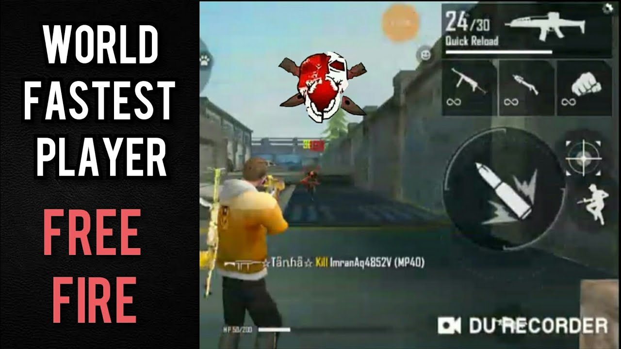 WORLD FASTEST PLAYER IN FREE FIRE   BY ALFIX GAMING - YouTube
