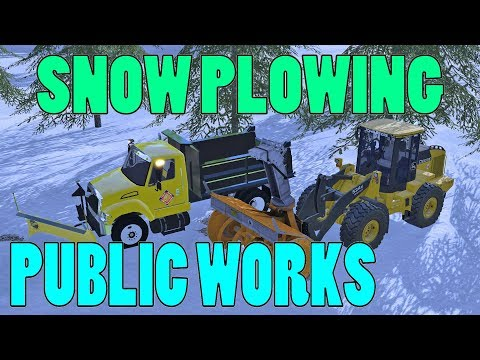 Farming Simulator 17 Live | Plowing Town Roads | Public Works | Front Loader | Snow Blower