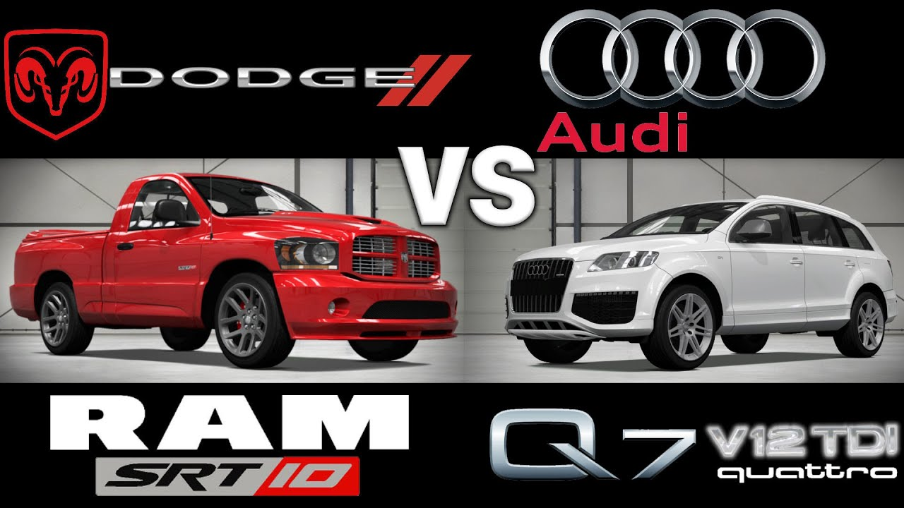 Audi Srt: Dodge RAM SRT-10 Vs Audi Q7 V12 TDI / 3 Rounds Drag Race