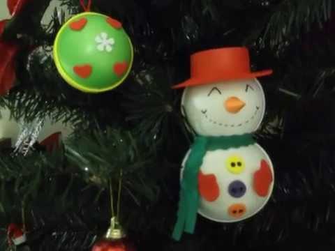 Muñeco de nieve en foamy para decorar el árbol de navidad Parte 2 ...
