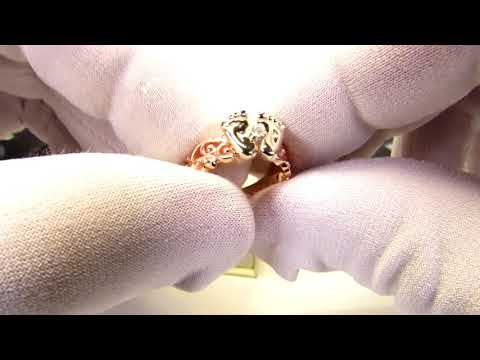 EliteGold - кольцо пяточки на рождение ребенка с бриллиантом по 3D в двух цветах золота