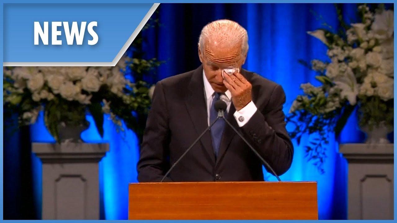 Joe Biden brings humour and emotion to John McCain's eulogy