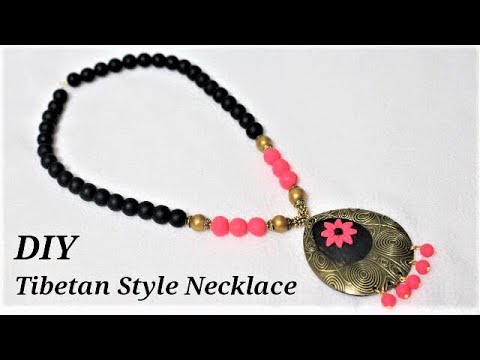 DIY How To Make Polymer Clay Tibetan Style Pendant Necklace | Jewellery Making Tutorials
