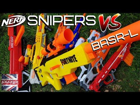 New Nerf Fortnite BASR-L Review Vs 7 Other Nerf Sniper Rifles: Nerf Bolt Action Sniper Showdown