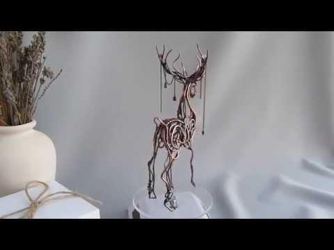 Wire copper Deer - metal sculpture