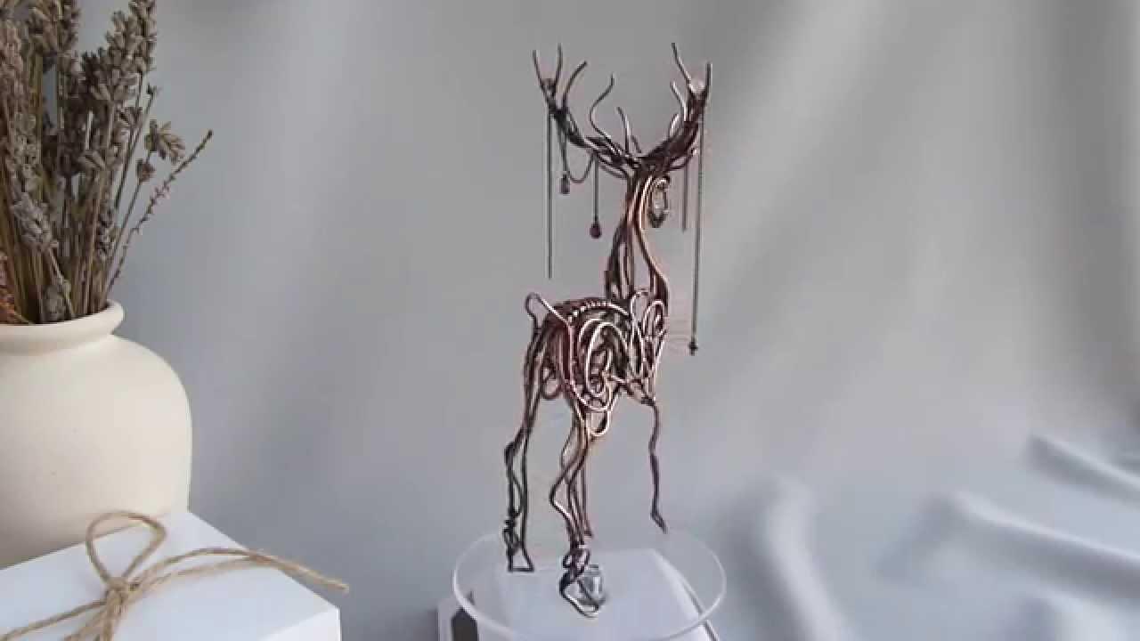 Wire copper Deer - metal sculpture - YouTube
