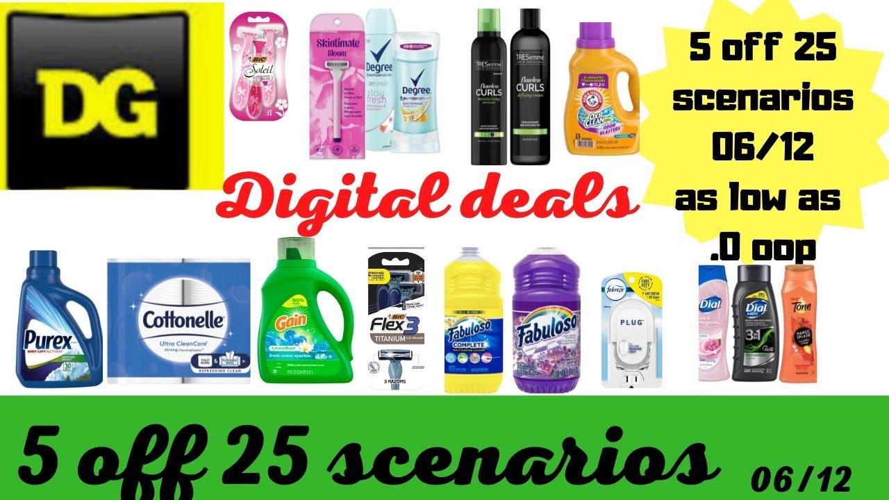 Dollar General $5 off $25 Scenarios 06/12 | All digital deals as low as .0 zero oop