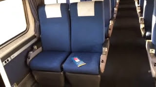 Inside Amtrak viewliner coach car on Silver Meteor from Miami to Orlando 97 98 92 91