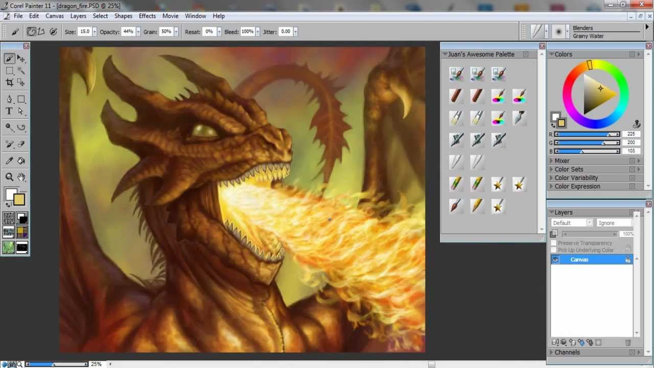 how to draw and paint a fire breathing dragon using corel painter. Black Bedroom Furniture Sets. Home Design Ideas