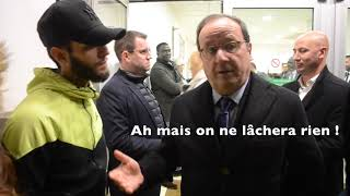 Dijon : François Hollande et François Rebsamen interpellés par des Gilets Jaunes