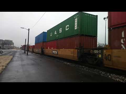 San Antonio intermodal container train passing east commerce street