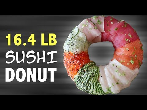 DIY 16 POUND SUSHI DONUT 🍣 🍩 + EATING CHALLENGE!!!