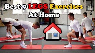 أقوى 9 تمارين منزلية لتضخيم عضلات الأرجل كمال الاجسام 🔥 Home LEGS Workout