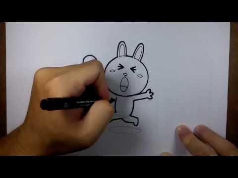 วาดการ์ตูน กันเถอะ สอนวาดรูป การ์ตูน กระต่ายน้อย โคนี่ ถือ ไอศครีม
