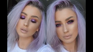 PURPLE SPARKLY EYE MAKEUP TUTORIAL | lolaliner
