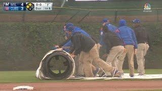 MIL@CHC: Schwarber's slip begins long rain delay