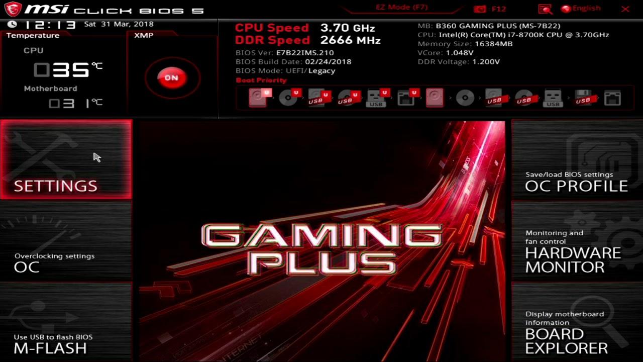 MSI B360 Gaming Plus UEFI
