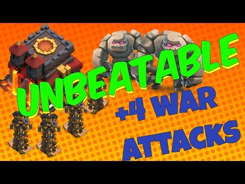 Worlds Best Th10 War Base With 4 War Attacks Replays 2016 100% Anti 2 Star