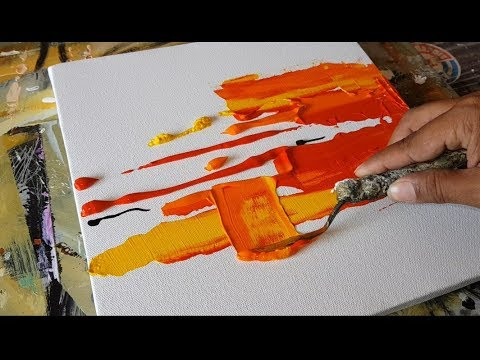 Abstract painting/EASY Textural Abstract painting/Brayer and Palette knife/Acrylics/Demonstration