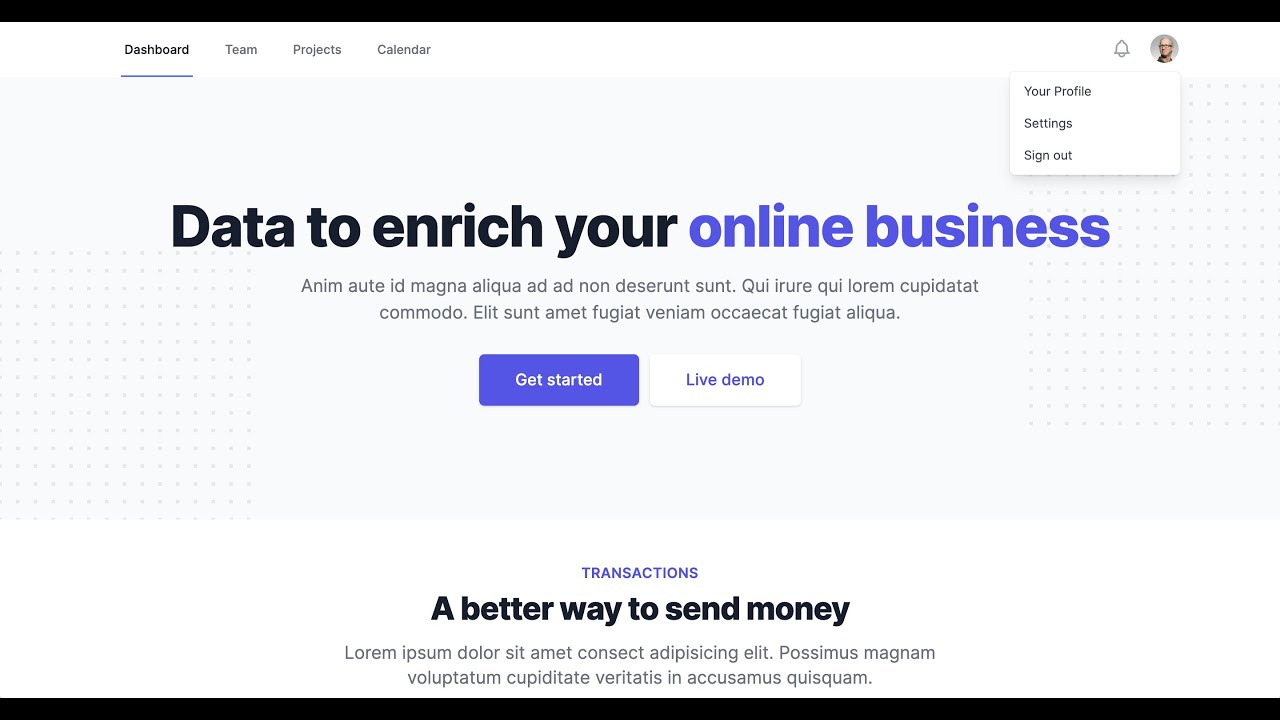 Build a Landing Page using Tailwind UI