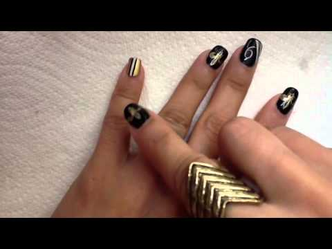 New Orlean Saints Nail Stamping Design