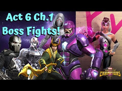 Act 6 Chapter 1 Boss Fights! Crossbones/Sentinel/Ultron/Loki/Ghost - Marvel Contest of Champions