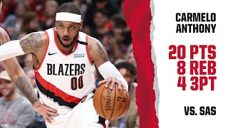 Carmelo Anthony (20 PTS, 8 REB, 4 3PT) Highlights | Trail Blazers vs. Spurs
