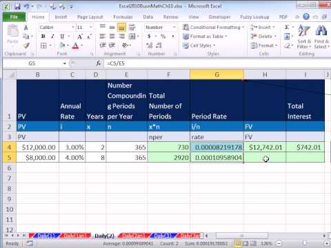 Excel 2010 Business Math 82: Calculating Interest & Future Value ...