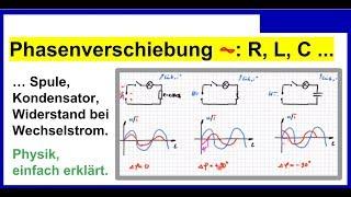 Phasenverschiebung (Spannung, Strom) Bei Spule, Kondensator, Ohmscher  Widerstand, Wechselstrom Phasenverschiebung ...