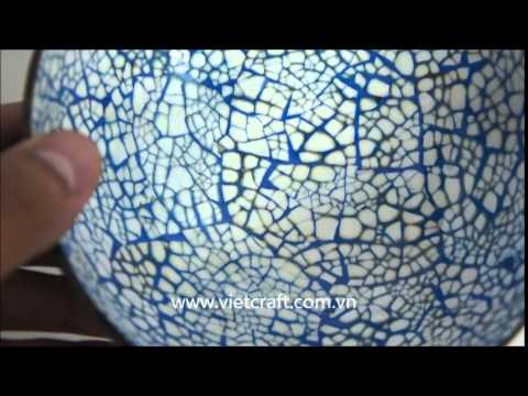 LBC EM01 BE Lacquer Coconut Bowl Eggshell Inlaid In Misl Design Blue Color