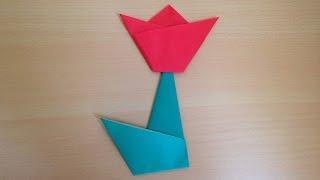 折り紙 チューリップの花の簡単な折り方、作り方を紹介します。 子供で...