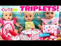 🌈Honestly Cute Triplets!!! 🎀 Doll Car Seat, Folding Crib & Diaper Bag Set Unboxing!🤗Name Reveal!