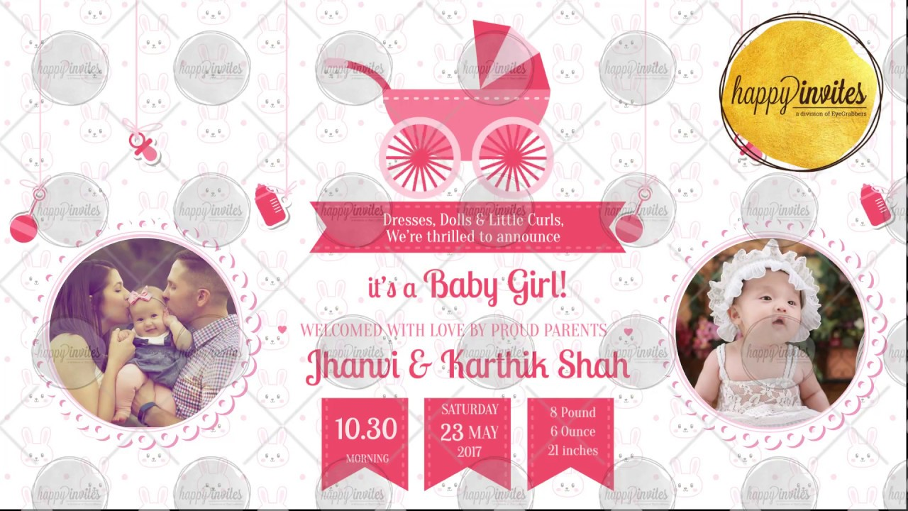 baby girl naming ceremony announcement video invitation